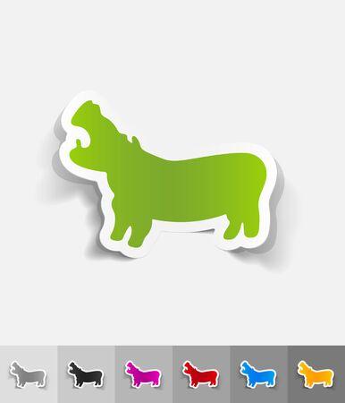 viviparous: hippopotamus paper sticker with shadow. Vector illustration Illustration