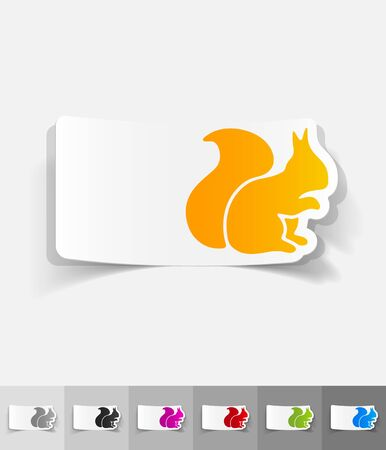 animal viviparous: squirrel paper sticker with shadow. Vector illustration