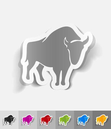 viviparous: aurochs paper sticker with shadow. Vector illustration