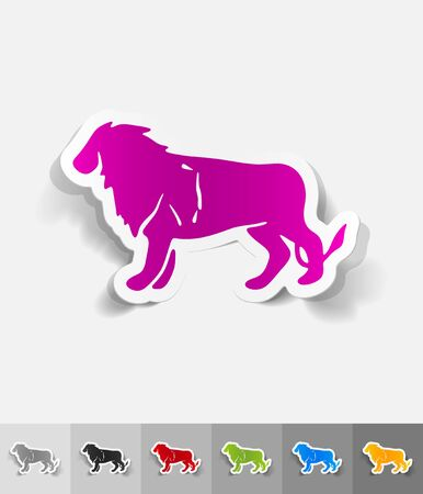 animal viviparous: lion paper sticker with shadow. Vector illustration