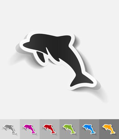 viviparous: dolphin paper sticker with shadow. Vector illustration Illustration