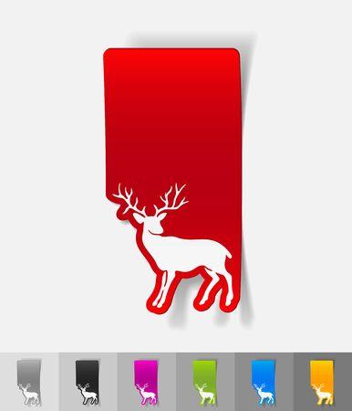 viviparous: deer paper sticker with shadow. Vector illustration