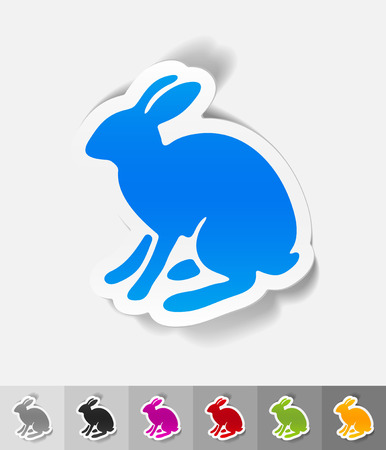 animal viviparous: hare paper sticker with shadow. Vector illustration Illustration