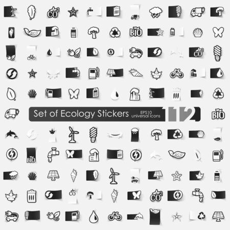 climate: ecology vector sticker icons with shadow. Paper cut