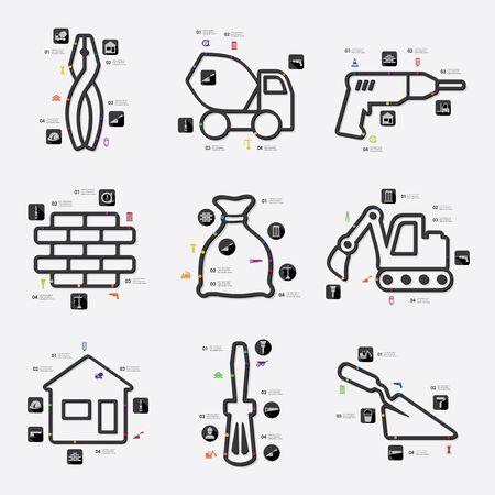 premises: building line infographic illustration. Fully editable vector file Illustration