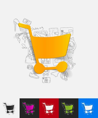 food store: hand drawn simple elements with shopping paper sticker shadow Illustration