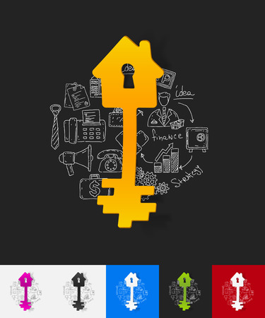 hand key: hand drawn simple elements with key paper sticker shadow Illustration