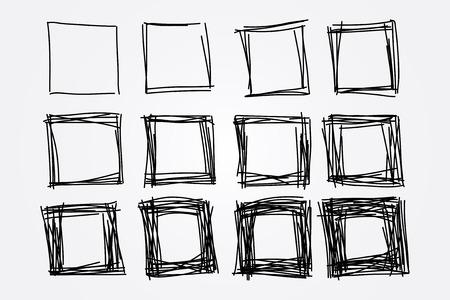 cuadrados: colección de cuadrados de bosquejo dibujado a mano, elementos de diseño vectorial