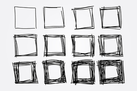 collection of hand drawn doodle squares, vector design elements