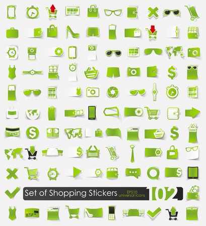 preview: Set of shopping stickers
