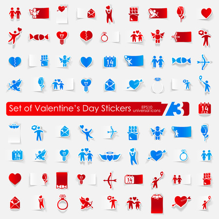 closeness: Valentines Day vector sticker icons with shadow. Paper cut