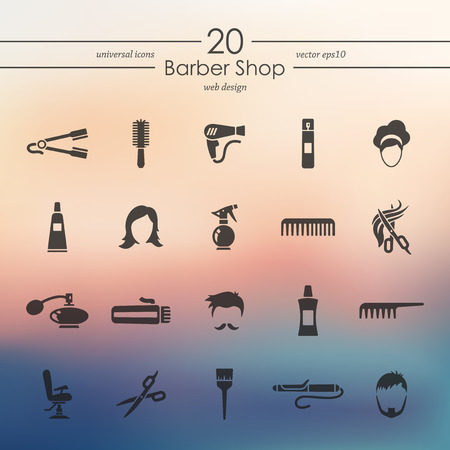 styler: barber shop modern icons for mobile interface on blurred background