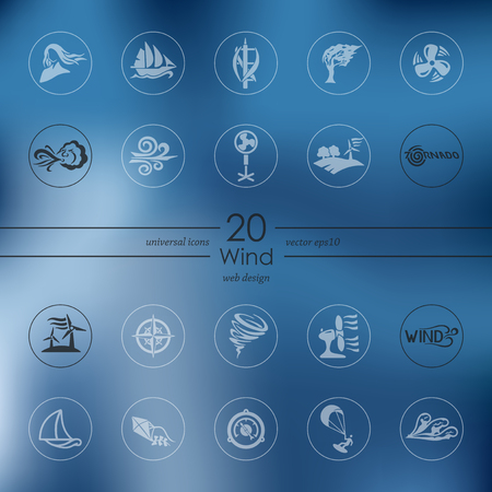 flurry: wind modern icons for mobile interface on blurred background