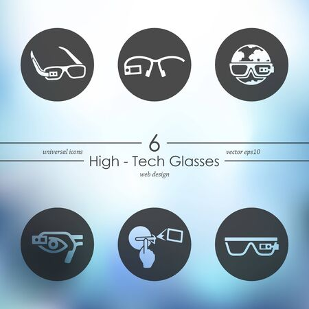 artificial: high-tech glasses modern icons for mobile interface on blurred background