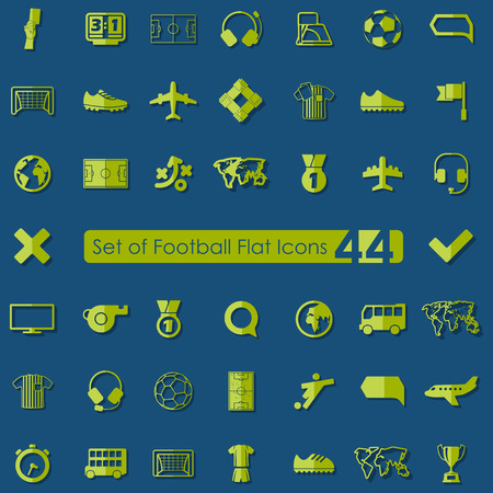 offside: Set of football flat icons for Web and Mobile Applications Illustration