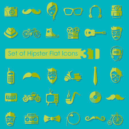 criticism: Set of hipster flat icons for Web and Mobile Applications