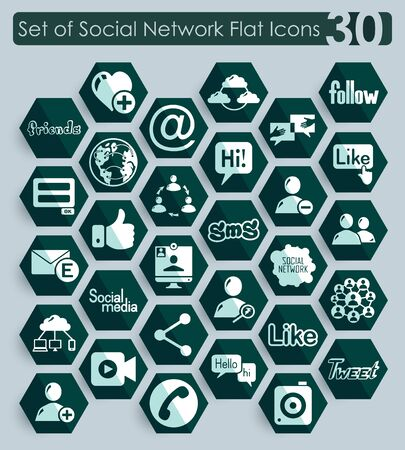 web portal: Set of social network flat icons for Web and Mobile Applications