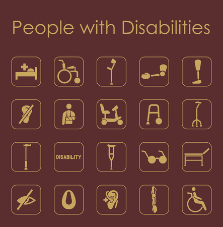 hearing aid: It is a set of people with disabilities simple web icons
