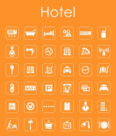 Il est un ensemble de chambres d'hôtel simples icônes web Banque d'images - 43594946
