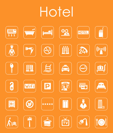 Se trata de un conjunto de iconos de la web de hoteles sencilla Foto de archivo - 43594946