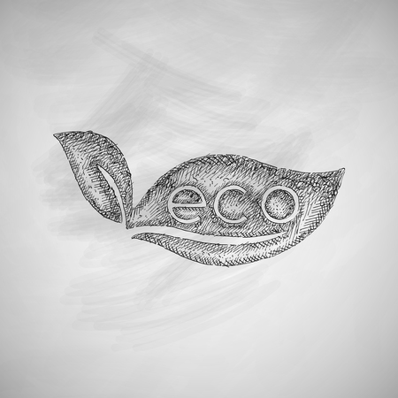 ecological adaptation: eco sign leaf icon Illustration