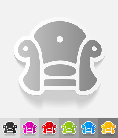 leather goods: chair paper sticker with shadow. Vector illustration
