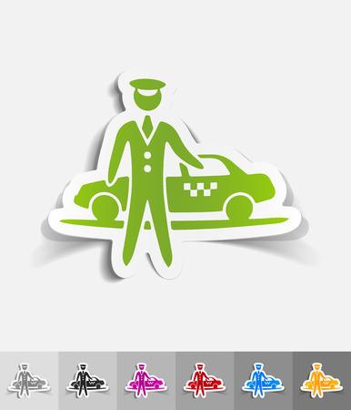 taxista: el aparcamiento y el papel del taxi pegatina con sombras. Ilustraci�n vectorial