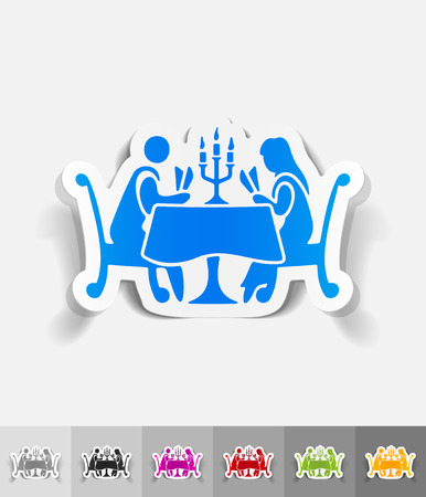 shadow people: people in the restaurant paper sticker with shadow. Vector illustration