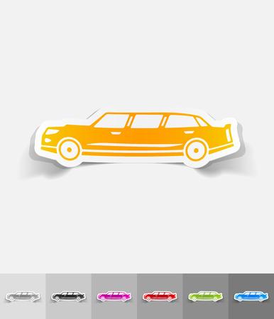 limousine: limousine paper sticker with shadow. Vector illustration