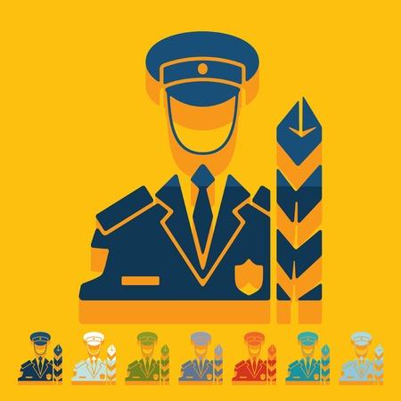 customs: Flat design: customs inspector Illustration