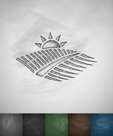 agricultural landscape icon. Hand drawn vector illustration. Chalkboard Design