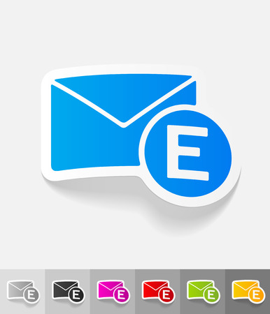 ikon: email paper sticker with shadow. Vector illustration