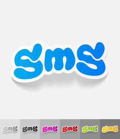 short message service: sms message paper sticker with shadow. Vector illustration