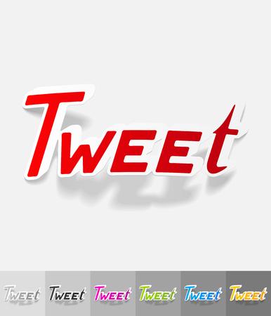 tweet: tweet paper sticker with shadow. Vector illustration
