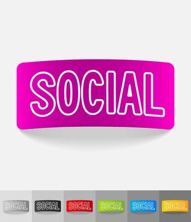 web portal: social paper sticker with shadow. Vector illustration
