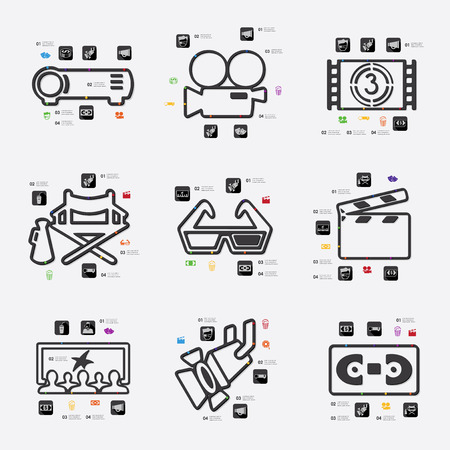 cinema viewing: cinema line infographic illustration. Fully editable vector file