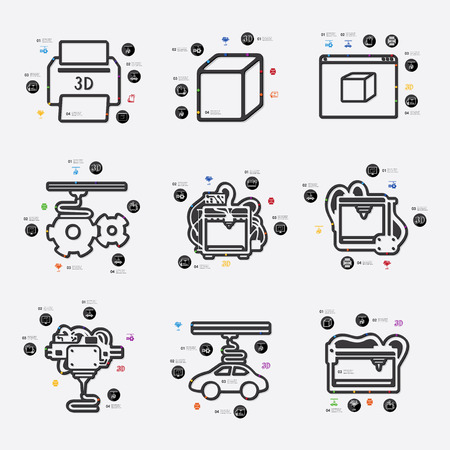 three d: three d printer line infographic illustration. Fully editable vector file