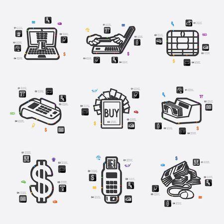 fully editable: e-money line infographic illustration. Fully editable vector file