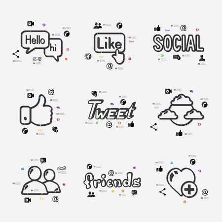 fully editable: social network line infographic illustration. Fully editable vector file Illustration