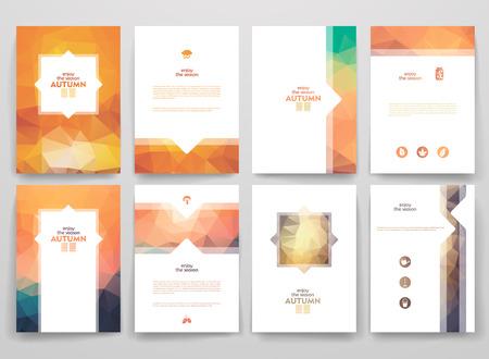 folleto: Conjunto de folletos en el estilo poligonal sobre tema del otoño. Hermosos marcos y fondos.