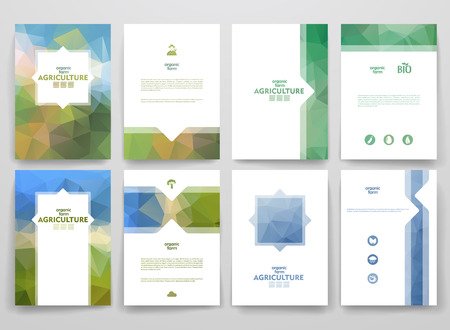 countryside background: Set of brochures in poligonal style on Agriculture theme. Beautiful frames and backgrounds.