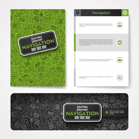 organizer: Vector template with hand drawn doodles navigation theme. Target marketing concept.