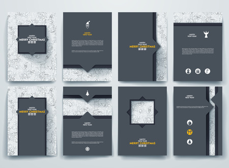page layout: Vector design brochures with doodles backgrounds on Merry Christmas and Happy New Year theme.