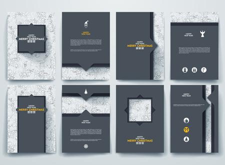 Vector ontwerp brochures met doodles achtergronden op Vrolijk Kerstfeest en Gelukkig Nieuwjaar thema. Stock Illustratie