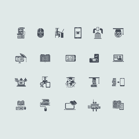 laptop icon: distance learning vector set of modern simple icons