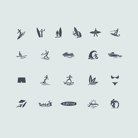 hydroplaning: surfing vector set of modern simple icons