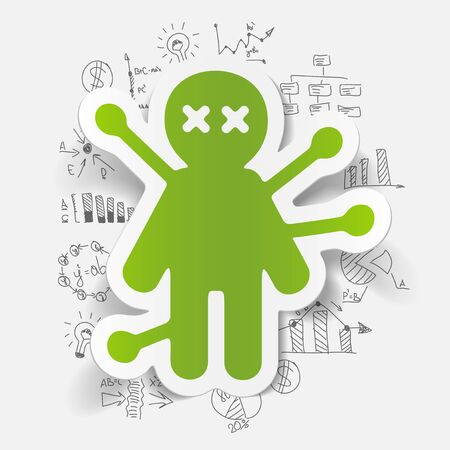 voodoo: Drawing business formulas: voodoo Doll Illustration