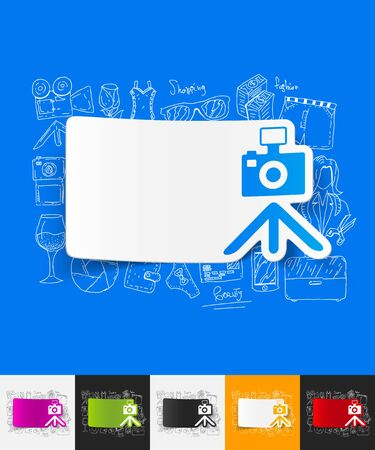 photoshoot: hand drawn simple elements with photo paper sticker shadow