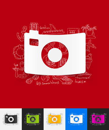digicam: hand drawn simple elements with photo paper sticker shadow