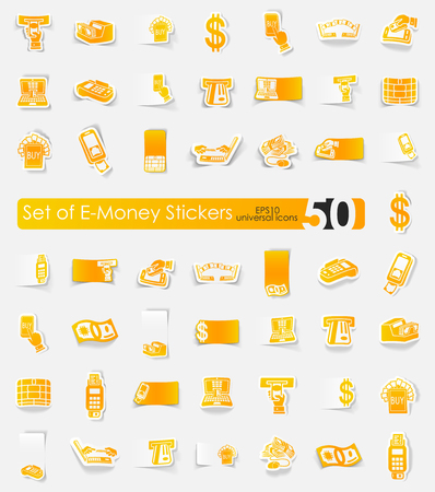 liabilities: e-money vector sticker icons with shadow. Paper cut